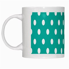 Polka Dots White Blue White Mugs by Mariart