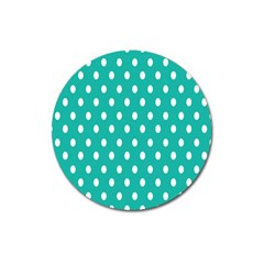 Polka Dots White Blue Magnet 3  (round) by Mariart