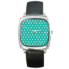 Polka Dots White Blue Square Metal Watch by Mariart