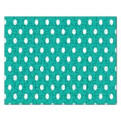 Polka Dots White Blue Rectangular Jigsaw Puzzl by Mariart