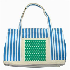 Polka Dots White Blue Striped Blue Tote Bag by Mariart