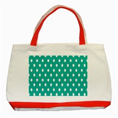 Polka Dots White Blue Classic Tote Bag (red) by Mariart
