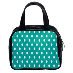 Polka Dots White Blue Classic Handbags (2 Sides) by Mariart