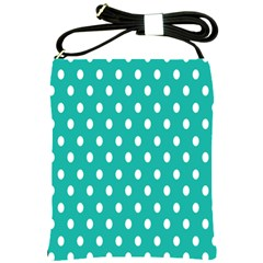 Polka Dots White Blue Shoulder Sling Bags by Mariart