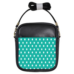 Polka Dots White Blue Girls Sling Bags by Mariart