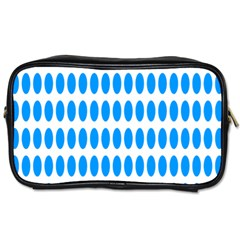Polka Dots Blue White Toiletries Bags 2 Side by Mariart