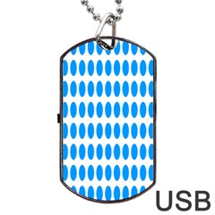 Polka Dots Blue White Dog Tag Usb Flash (one Side) by Mariart