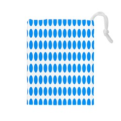 Polka Dots Blue White Drawstring Pouches (large)  by Mariart