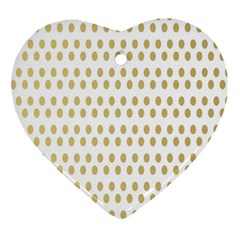 Polka Dots Gold Grey Ornament (heart) by Mariart