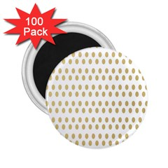 Polka Dots Gold Grey 2 25  Magnets (100 Pack)  by Mariart