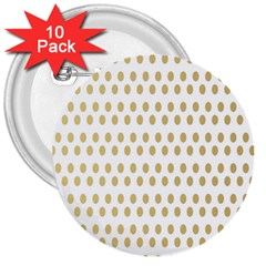 Polka Dots Gold Grey 3  Buttons (10 Pack)  by Mariart