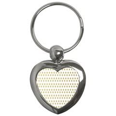 Polka Dots Gold Grey Key Chains (heart)  by Mariart
