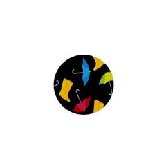 Rain Shoe Boots Blue Yellow Pink Orange Black Umbrella 1  Mini Magnets by Mariart