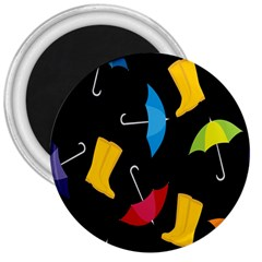 Rain Shoe Boots Blue Yellow Pink Orange Black Umbrella 3  Magnets by Mariart