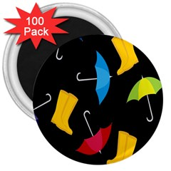 Rain Shoe Boots Blue Yellow Pink Orange Black Umbrella 3  Magnets (100 Pack) by Mariart
