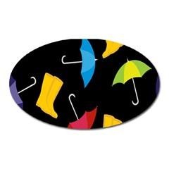 Rain Shoe Boots Blue Yellow Pink Orange Black Umbrella Oval Magnet by Mariart