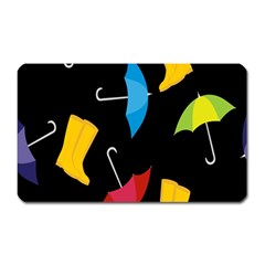 Rain Shoe Boots Blue Yellow Pink Orange Black Umbrella Magnet (rectangular) by Mariart