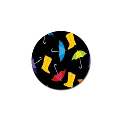 Rain Shoe Boots Blue Yellow Pink Orange Black Umbrella Golf Ball Marker (4 Pack) by Mariart