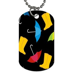 Rain Shoe Boots Blue Yellow Pink Orange Black Umbrella Dog Tag (two Sides) by Mariart