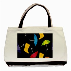Rain Shoe Boots Blue Yellow Pink Orange Black Umbrella Basic Tote Bag by Mariart