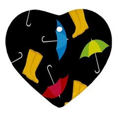 Rain Shoe Boots Blue Yellow Pink Orange Black Umbrella Heart Ornament (two Sides) by Mariart