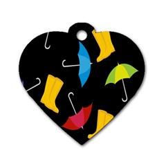 Rain Shoe Boots Blue Yellow Pink Orange Black Umbrella Dog Tag Heart (two Sides) by Mariart