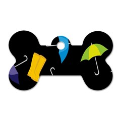 Rain Shoe Boots Blue Yellow Pink Orange Black Umbrella Dog Tag Bone (two Sides) by Mariart
