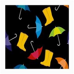 Rain Shoe Boots Blue Yellow Pink Orange Black Umbrella Medium Glasses Cloth (2 Side) by Mariart