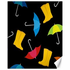 Rain Shoe Boots Blue Yellow Pink Orange Black Umbrella Canvas 11  X 14   by Mariart