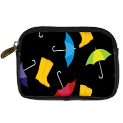 Rain Shoe Boots Blue Yellow Pink Orange Black Umbrella Digital Camera Cases by Mariart