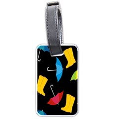 Rain Shoe Boots Blue Yellow Pink Orange Black Umbrella Luggage Tags (two Sides) by Mariart