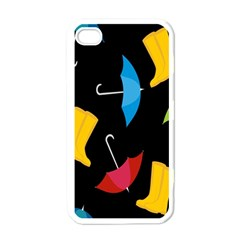 Rain Shoe Boots Blue Yellow Pink Orange Black Umbrella Apple Iphone 4 Case (white) by Mariart
