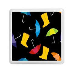 Rain Shoe Boots Blue Yellow Pink Orange Black Umbrella Memory Card Reader (square)  by Mariart