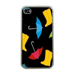 Rain Shoe Boots Blue Yellow Pink Orange Black Umbrella Apple Iphone 4 Case (clear) by Mariart