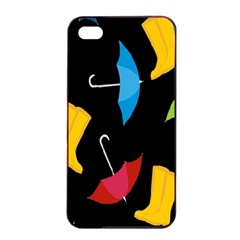 Rain Shoe Boots Blue Yellow Pink Orange Black Umbrella Apple Iphone 4/4s Seamless Case (black) by Mariart
