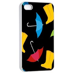 Rain Shoe Boots Blue Yellow Pink Orange Black Umbrella Apple Iphone 4/4s Seamless Case (white) by Mariart