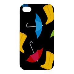 Rain Shoe Boots Blue Yellow Pink Orange Black Umbrella Apple Iphone 4/4s Premium Hardshell Case by Mariart