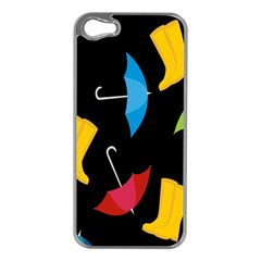 Rain Shoe Boots Blue Yellow Pink Orange Black Umbrella Apple Iphone 5 Case (silver) by Mariart