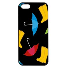 Rain Shoe Boots Blue Yellow Pink Orange Black Umbrella Apple Iphone 5 Seamless Case (black) by Mariart