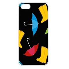 Rain Shoe Boots Blue Yellow Pink Orange Black Umbrella Apple Iphone 5 Seamless Case (white) by Mariart