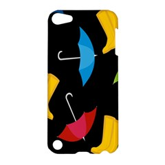 Rain Shoe Boots Blue Yellow Pink Orange Black Umbrella Apple Ipod Touch 5 Hardshell Case by Mariart