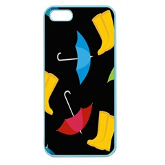 Rain Shoe Boots Blue Yellow Pink Orange Black Umbrella Apple Seamless Iphone 5 Case (color) by Mariart