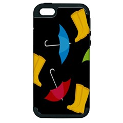 Rain Shoe Boots Blue Yellow Pink Orange Black Umbrella Apple Iphone 5 Hardshell Case (pc+silicone) by Mariart
