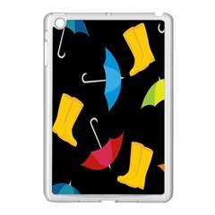 Rain Shoe Boots Blue Yellow Pink Orange Black Umbrella Apple Ipad Mini Case (white) by Mariart