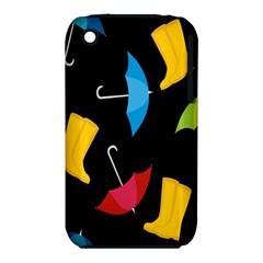 Rain Shoe Boots Blue Yellow Pink Orange Black Umbrella Iphone 3s/3gs by Mariart