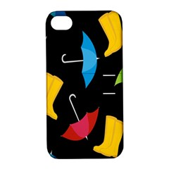 Rain Shoe Boots Blue Yellow Pink Orange Black Umbrella Apple Iphone 4/4s Hardshell Case With Stand by Mariart