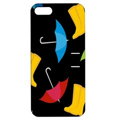 Rain Shoe Boots Blue Yellow Pink Orange Black Umbrella Apple Iphone 5 Hardshell Case With Stand by Mariart