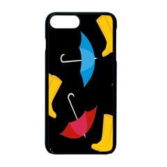 Rain Shoe Boots Blue Yellow Pink Orange Black Umbrella Apple Iphone 7 Plus Seamless Case (black) by Mariart