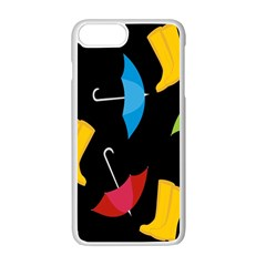 Rain Shoe Boots Blue Yellow Pink Orange Black Umbrella Apple Iphone 7 Plus White Seamless Case by Mariart