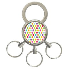 Polka Dot Yellow Green Blue Pink Purple Red Rainbow Color 3 Ring Key Chains by Mariart